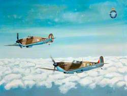 Spitfire and Hurricane in Flight