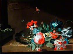 A Still Life of an Overturned Glass Vase with Flowers and Flying Insects