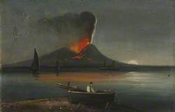 Figure in a Rowing Boat with Vesuvius in the Background