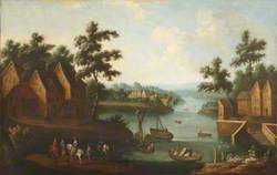 An Extensive River Landscape with Boats and Elegant Figures