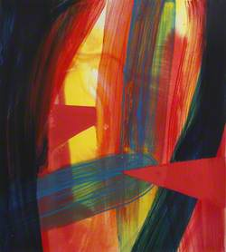 Red, Blue and Yellow Abstract with Red Triangle