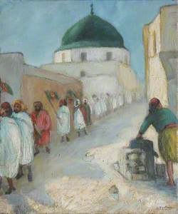 Figures Queuing outside a Mosque