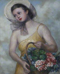 Girl with a Basket of Flowers