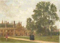 In the Grounds of Magdalen College, with Portraits of Magdalen Fellows: Reverend T. H. T. Hopkins, Reverend H. R. Bramley, Reverend J. Rigaud and Reverend H. F. Garnsey