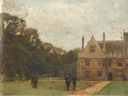 In the Grounds of Magdalen College, Dr Fisher (Fellow), J. Henderson (Bursar) and Major-General Rigaud in the Foreground