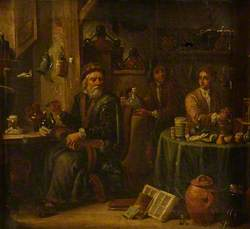 Chemist or Pharmacist in His Laboratory, with Assistants and Apparatus