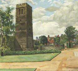 Landscape, Bell Tower with Buildings, Lawn and Paths*
