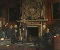 Group Portrait of James (1861–1947), 4th Marquess of Salisbury; and His Brothers, Robert (1864–1958), Viscount Cecil of Chelwood; Lord William Cecil (1863–1936), Bishop of Exeter; Lord Hugh Cecil (1869–1956), Baron Quickswood; James, Honorary Fellow (1923); Robert, Honorary Fellow (1919); William, Seated on Right and Hugh on the Extreme Left