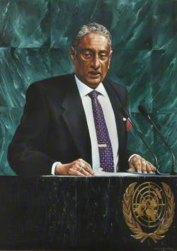 Honourable Lakshman Kadirgamar (1932–2005), PC, MP, Minister of Foreign Affairs, Sri Lanka (1994–2001 & 2004–2005), Addressing the United Nations General Assembly