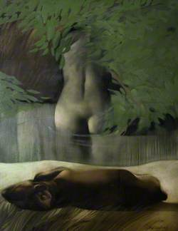 Bather and Sleeping Dog