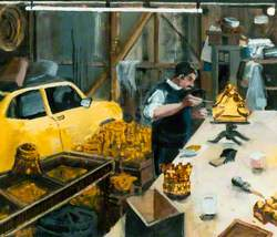 A Gilder Working on the Restored Bosses in His Garage at L. Edmonton