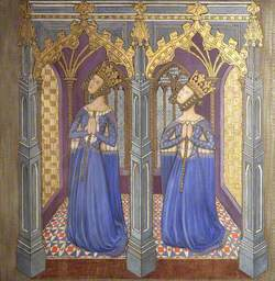 Reconstruction of Medieval Mural Painting, Possibly Queen Philippa with Daughter