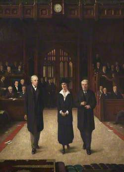 Lady Astor Being Introduced to the House of Commons by Lloyd George upon Taking Her Seat