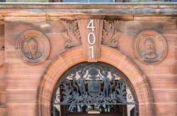 Former Govan Town Hall – Portrait Roundels, Keystone, Procession of Putti and Decorative Carving