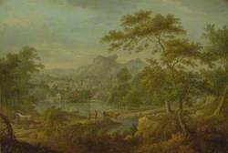 An Imaginary Landscape with a Wagon and a Distant View of a Town