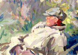 A Reclining Man in a Cap ('Forgotten then were the disconsolate, the rainy days')