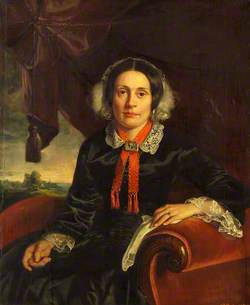 Lady Fillingham on a Red Sofa