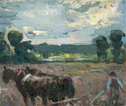Landscape with Horses Ploughing