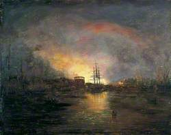 Ipswich Docks with Distant Conflagration