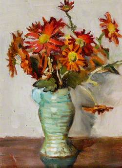 Asters in a Green Vase