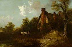 Pastoral Scene with a Cottage, a Pond and a Horse