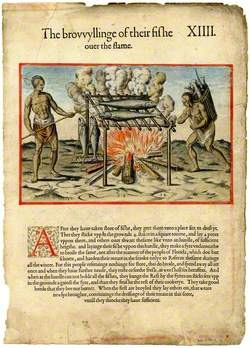 The brouuyllinge of their fishe over the flame