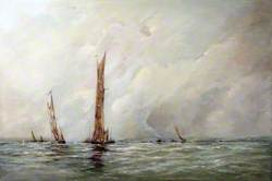 Seascape with Thames Sailing Barges