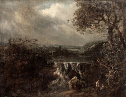 River Landscape with a Waterfall