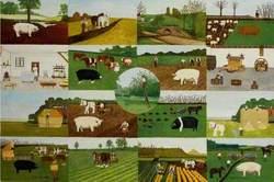 Composite of 17 images: Blake's Farm, Oakhill; Cockmill Farm, Pilton, c.1935