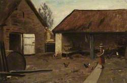Farmyard with Girl and Chickens