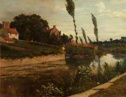 Canal Scene with Poplars, Church Tower and Cottages
