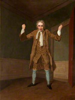 William Farren as Lovegold in 'The Miser' by Henry Fielding