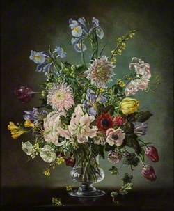 Flowers in a Glass Vase, Irises, Chrysanthemums and Others