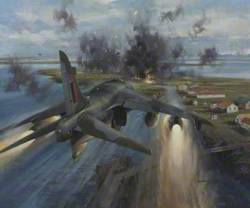 Harrier Aircraft Attacking Goose Green, 28–29 May 1982