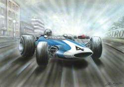 Blue and White Racing Car No. 4
