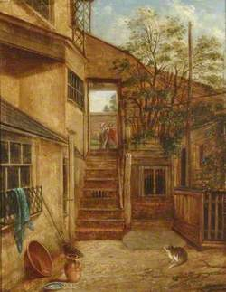 Courtyard with Cat and Robin, South Street, Dorking, Surrey