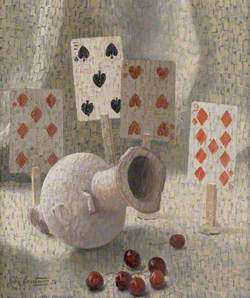Still Life of Playing Cards, Red Cherries and Egyptian Marble Vase