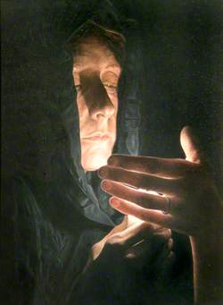 Woman with a Shielded Candle