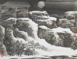 Nocturne Mountain Landscape with Huts