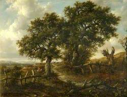 Landscape with Trees and Figures in the Foreground, a Church in the Distance