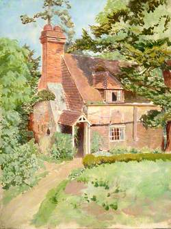 Exterior View of Unidentified Cottage in East Surrey, with Prominent Chimney and Porch