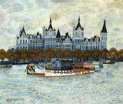 Boats Moored on the River Thames