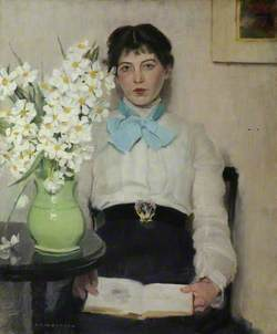 Woman and Vase with Flowers