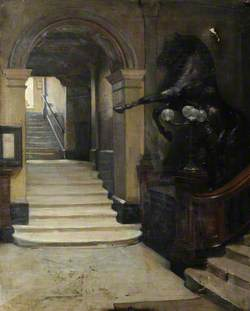 Interior of Hall, Equestrian Statue and Staircase