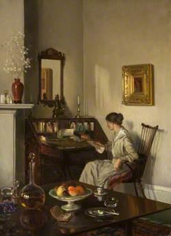 Interior, Woman at a Bureau