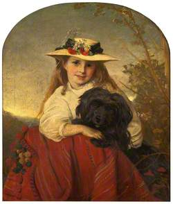 A Young Girl with a Dog