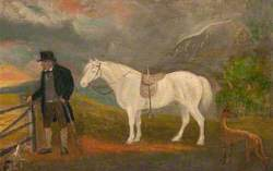 Bailie Robb Skirling with a White Horse