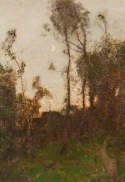 Forest Scene, Cottage and Crescent Moon