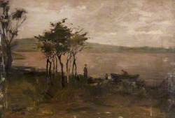 A Lady Looking onto a Lake beside Trees