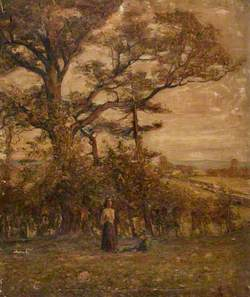 Two Figures in a Field with Trees